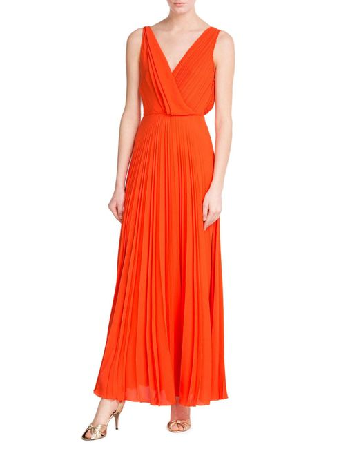 Cedric Charlier | Orange Pleated Maxi Skirt | Lyst