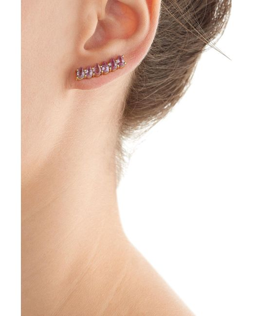 Ileana Makri | Metallic 18kt Yellow Gold Ear Cuff With Pink Sapphires | Lyst