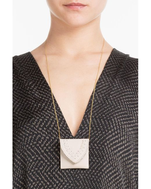 Hacienda Montaecristo | Metallic Marieta Gold Plated Necklace With Leather Pouch | Lyst
