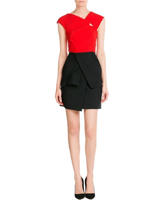 Roland Mouret | Black Draped Wool-crepe | Lyst