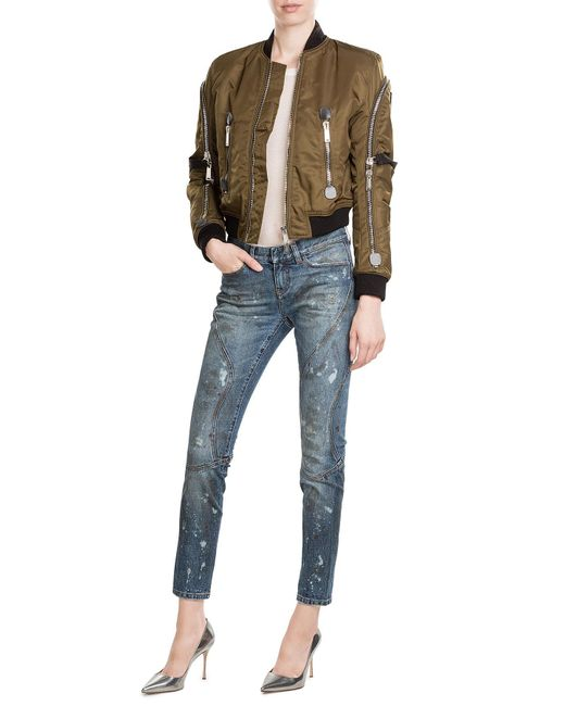 Faith Connexion   Blue Cropped And Distressed Skinny Jeans   Lyst