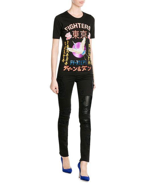 DSquared²   Black Printed Cotton T-shirt   Lyst