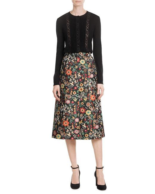 RED Valentino | Black Wool Cardigan With Lace Paneling | Lyst