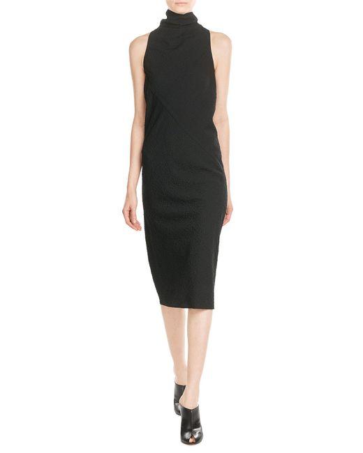 Rick Owens | Black Crepe Dress With Wool | Lyst