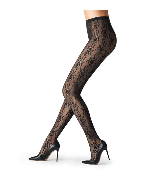 Fogal | Black Lace Tights | Lyst