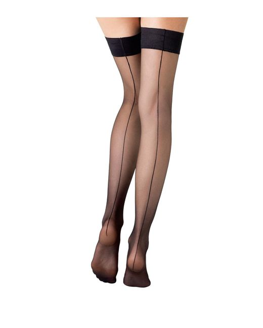 Fogal | Brown Stay-up Stockings With Seams | Lyst