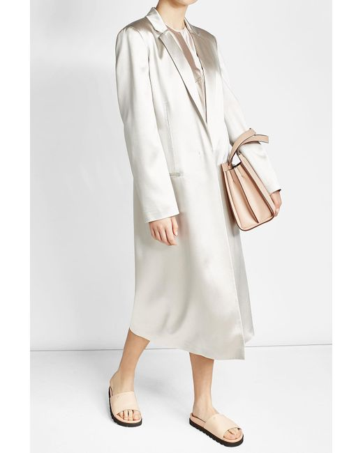 Calvin Klein | White Satin Coat | Lyst