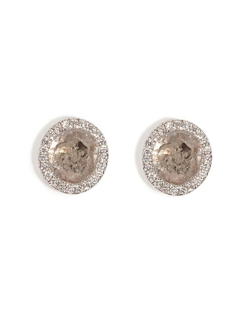 Susan Foster | 14k White Gold Diamond Slice Studs With Micro Pave Diamonds | Lyst