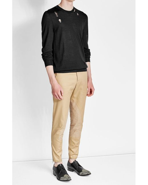 Alexander McQueen   Black Distressed Wool And Silk Pullover for Men   Lyst