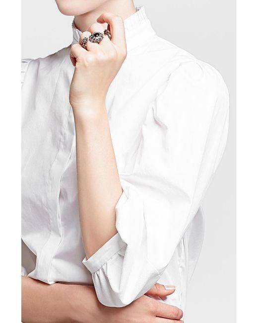 Alexander McQueen   Metallic Embellished Double Skull Ring   Lyst