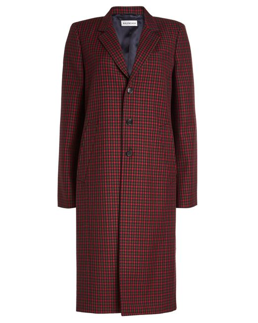 Balenciaga - Red Virgin Wool Checked Coat - Lyst