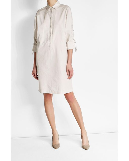 Max Mara | White Cotton Dress With Lace-up Detail | Lyst