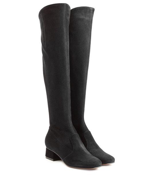 L'Autre Chose - Black Knee High Suede Boots - Lyst