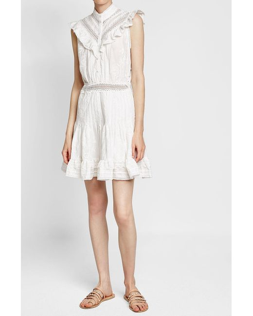Zimmermann | White Tulsi Cotton Mini Dress With Lace | Lyst