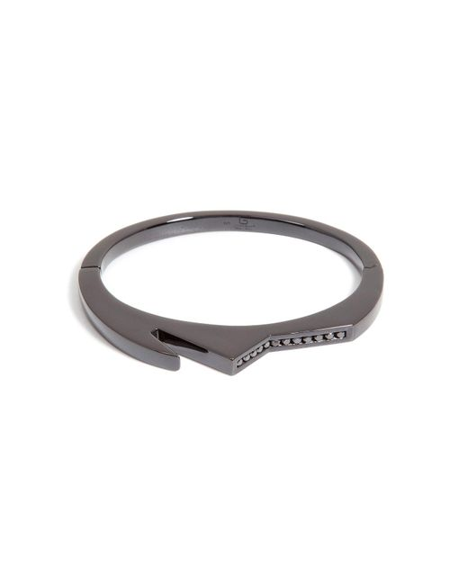 Lynn Ban - Black Rhodium Bracelet 3 With Black Diamonds - Lyst