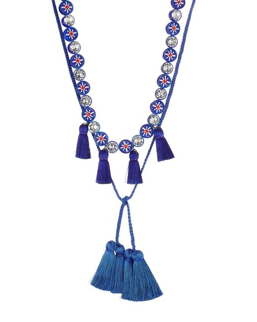 Shourouk | Blue Sautoir Mini Tassel Necklace With Crystals | Lyst