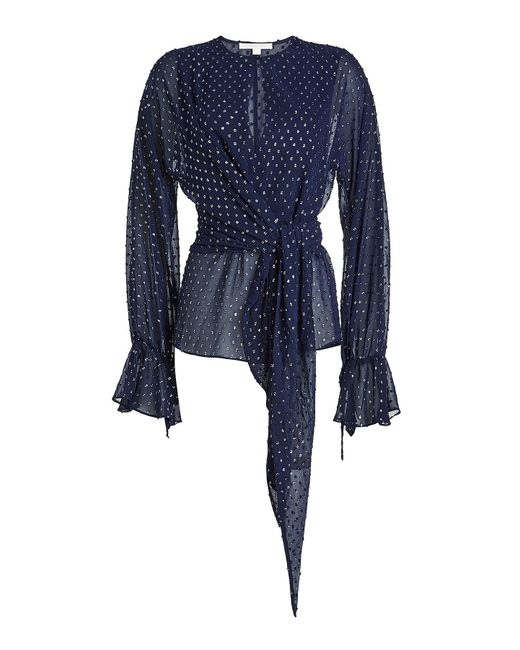 Jonathan Simkhai - Blue Chiffon Blouse With Metallic Thread - Lyst
