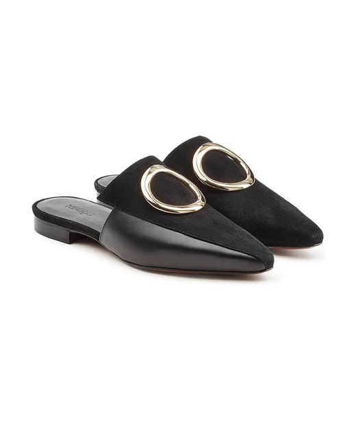 Neous - Black Phaius Leather And Suede Mules - Lyst