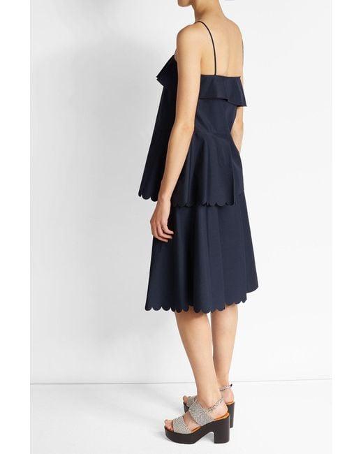 cc0b381a3a2 ... See By Chloé - Blue Scalloped Cotton Dress - Lyst