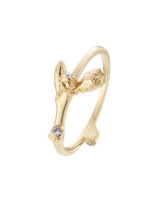 Sophie Bille Brahe - Metallic 18kt Yellow Gold Ring With White Diamonds - Lyst