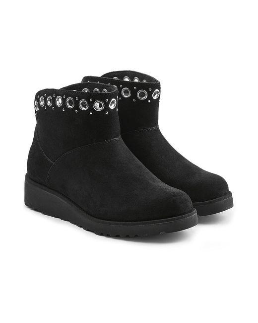 Ugg - Black Embellished Suede Boots - Lyst