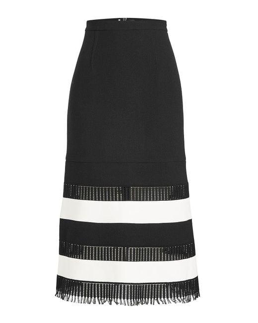 Roland Mouret - Black Wool Midi Skirt With Fringed Hem - Lyst