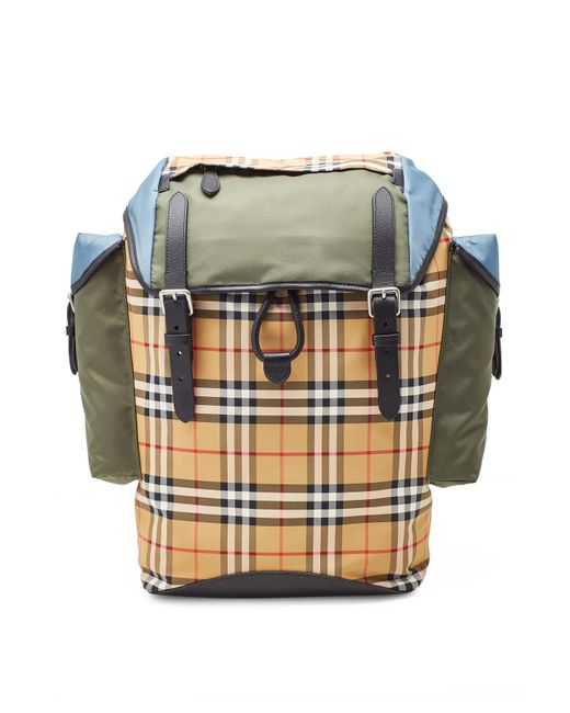 8946483cb83c Burberry - Multicolor Colorblock Vintage Check And Leather Backpack for Men  - Lyst ...