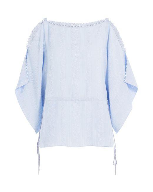 Vilshenko   Blue Embroidered Silk Blouse   Lyst