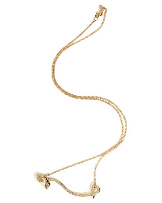 Ileana Makri - 18kt Yellow Gold Flying Snake Necklace With Diamonds - Lyst