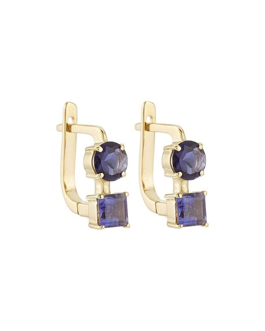 Ileana Makri - Metallic 18k Yelow Gold Earrings With Lolites - Lyst