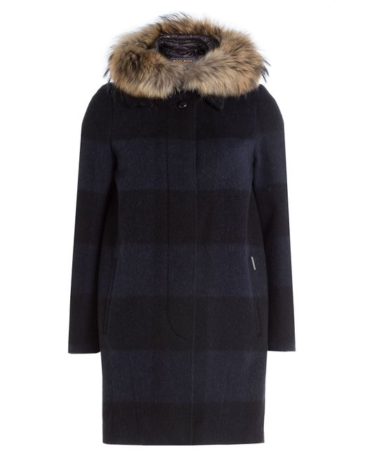 Woolrich | Black Down Coat With Fur-trimmed Hood - Grey | Lyst