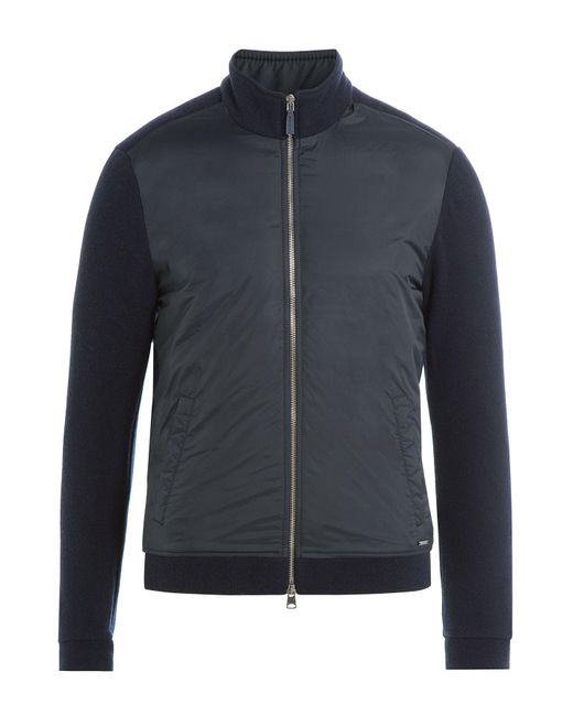 Woolrich | Zipped Jacket With Wool And Cotton - Blue for Men | Lyst