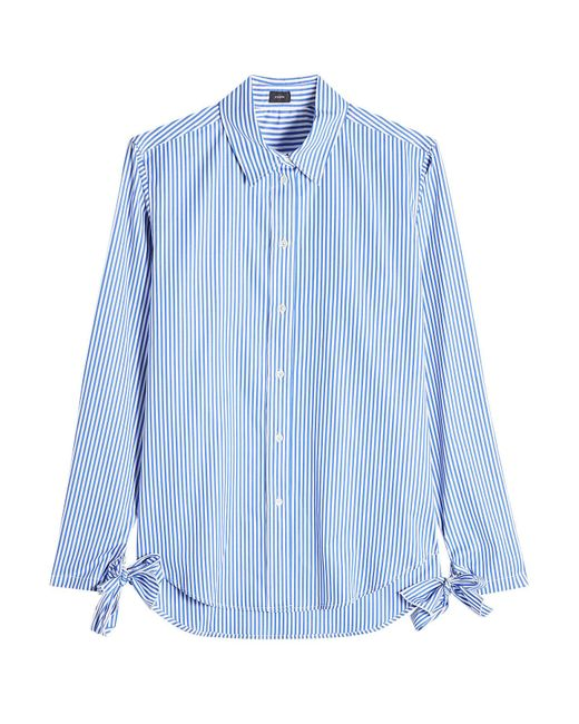 Joseph - Blue Striped Cotton Shirt With Bows - Lyst