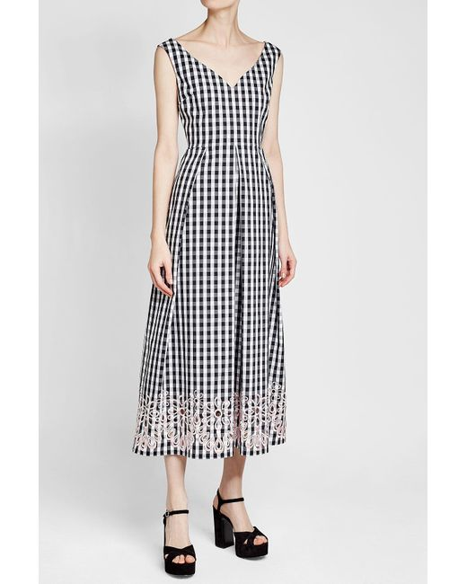 Lyst boutique moschino embroidered gingham dress in black