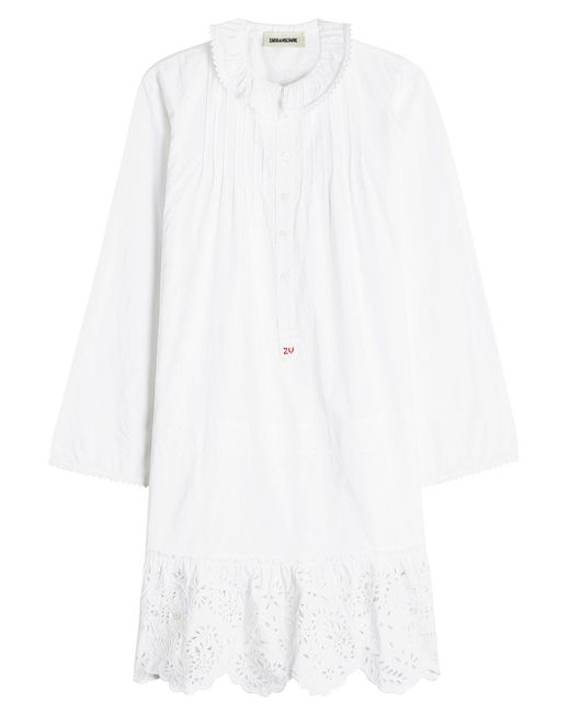 Zadig & Voltaire - White Cotton Dress With Broderie Anglaise - Lyst