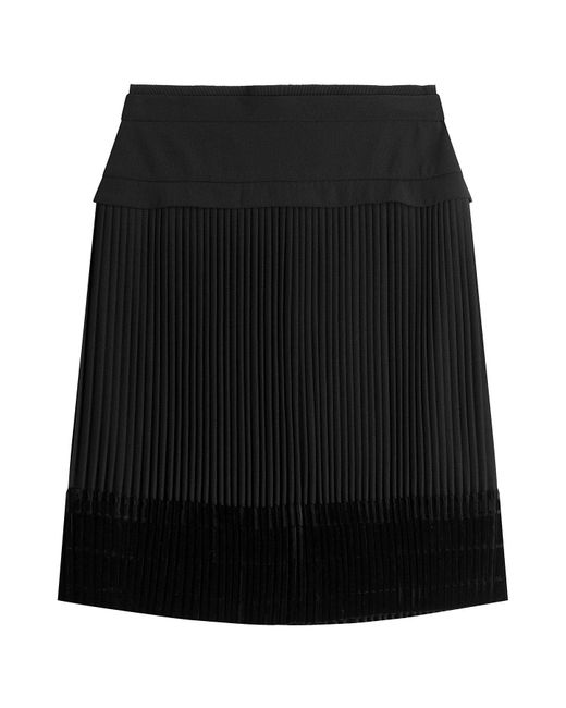 Carven - Black Pleated Skirt With Velvet - Lyst