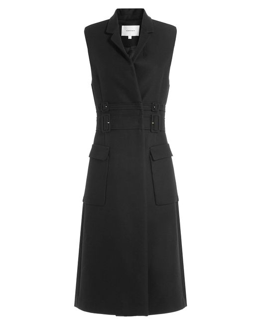 Carven - Black Sleeveless Cotton Coat With Virgin Wool - Lyst