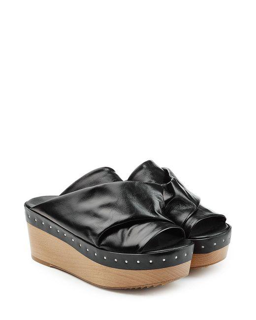 Rick Owens | Black Embellished Leather Wedges | Lyst