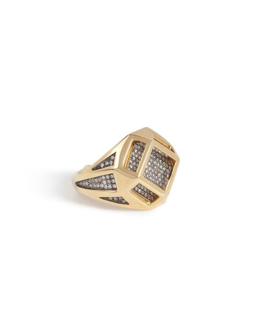 Noor Fares | Metallic 18kt Gold Cube Cage Ring With Diamonds | Lyst