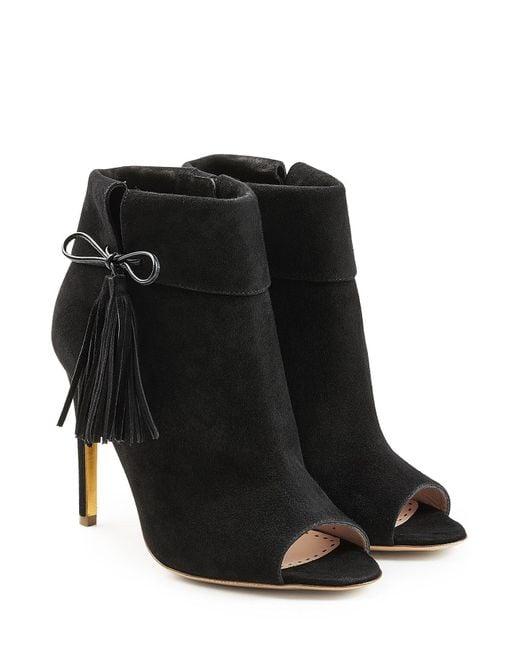 Rupert Sanderson - Black Tinsel Suede Open Toe Ankle Boots - Lyst