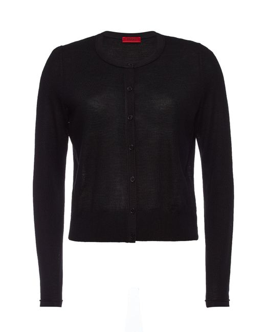 HUGO - Black Sosalia Virgin Wool Cardigan - Lyst
