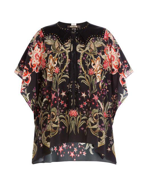 Roberto Cavalli - Black Printed Silk Tunic Blouse - Lyst