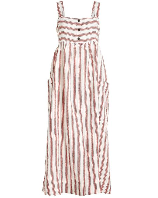Three Graces London - Pink Elinor Dress In Linen And Cotton - Lyst
