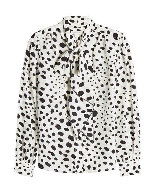 Marc Jacobs | Black Spot Tie Neck Blouse | Lyst