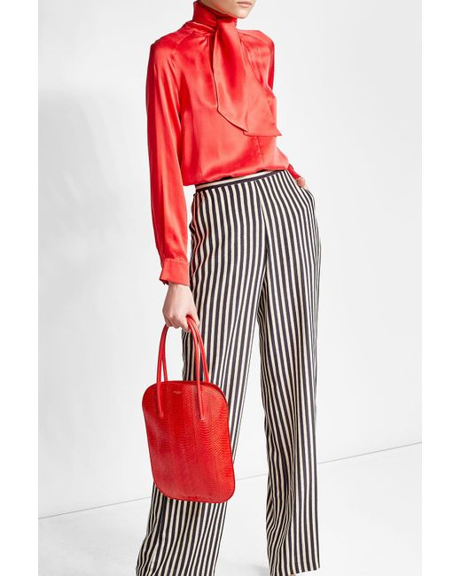 Nina Ricci | Red Snakeskin And Leather Tote | Lyst
