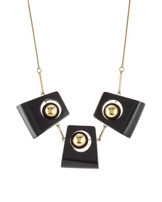 Marni - Black Statement Necklace With Wood - Lyst