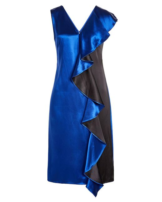 Diane von Furstenberg - Blue Two-tone Satin Dress With Ruffled Trim - Lyst