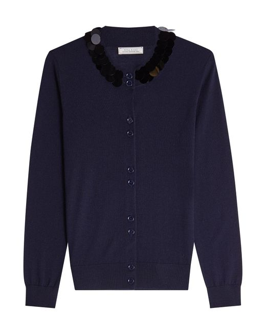 Nina Ricci - Blue Wool Cardigan With Sequins - Lyst