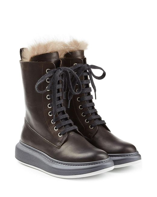Brunello Cucinelli | Multicolor Leather Ankle Boots With Fur Lining | Lyst