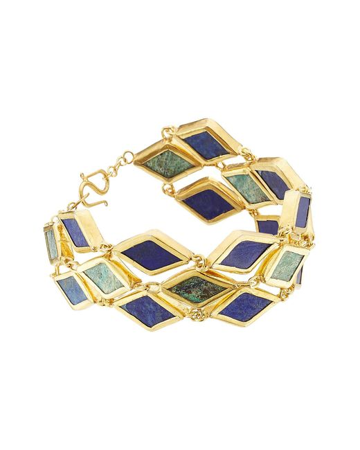 Pippa Small - Metallic Gold Plated Silver Bracelet With Chrysocolla And Lapis - Lyst